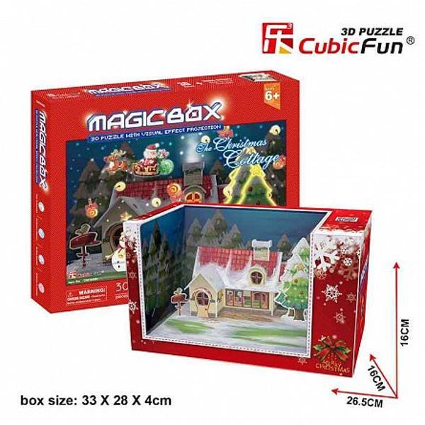 Distractiv si educativ in acelasi timp acest puzzle 3D -Casuta de Craciun este util pentru dezvoltarea inteligentei abilitatii si imaginatiei copiilor creand un puzzle emblematic pentru imaginea si semnificatia CraciunuluiPuzzle-ul reprezinta in mod realist imaginea casutei de Craciun contine 30 de piese si face parte dincolectia 3D de la Cubic FunAceasta colectie cuprinde numeroase monumente din intreaga
