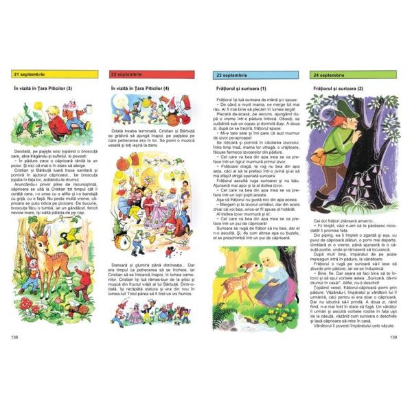 În fiecare sear&259; - pe parcursul întregului an - volumul î&355;i ofer&259; câte o poveste Nici prea lungi nici prea scurte pove&351;tile sunt cât se poate de potrivite pentru a fi citite copiilor înainte de culcare Cartea este ilustrat&259; cu 400 de desene me&537;te&537;ugite