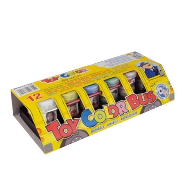Set 12 tempera la tub Toy Color Autobuzul Culorilor 25 mlTempera la tub Toy Color Autobuzul Culorilor 25 ml 12 culori;Tempera groasa si mata Pot fi amestecate pentru o paleta de culori extinsa;Se indeparteaza cu usurita de pe piele si cele mai multe tipuri de tesaturi doar cu apa rece;Nu contin gluten; nu provoaca alegii in contact cu pielea sau la inghitirea accidentala;Nu contin solventi