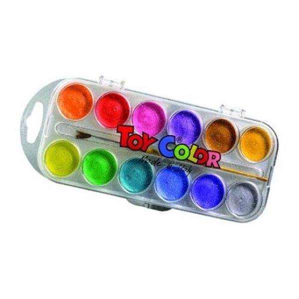Acuarele perlate Toy Color 12 culori sunt potrivite atât pentru pictatul in timpul liber cât &351;i pentru utilizarea la &351;coal&259;Denivel&259;rile de pe tableta de culoare ajut&259; la uscarea natural&259; a acestora f&259;r&259; s&259; diminueze calitatea materialelor utilizate în produc&355;ieNuan&355;ele pot fi amestecate între ele pentru a extinde paleta de culoriCulorile sunt rezistente cu reflexii de sidef fiind
