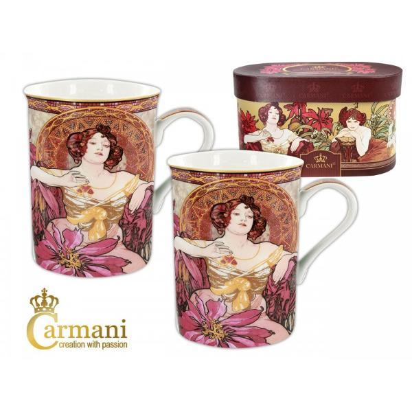 Set format din 2 cani din ceramica fiecare avand 0275l adecvate pentru ceai cafea sau lapteSetul este ambalat in cutie cadou personalizataModelMucha RubinColectia Cramani Art Gallery