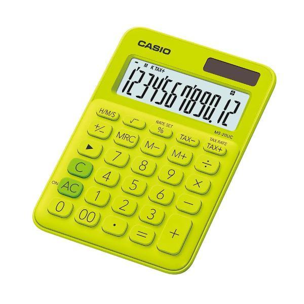 Calculator de birou Casio MS-20UC 12 digitsCalculatorul are un design elegant ecran LCD cu 12 digits iar tastele prezinta semnele de comanda a functiilorCaracteristici- Ecran mare de 12 cifre cu semne de comanda a functiilor- Alimentare in doua moduri- Taste de plastic- Tasta rotunjirep