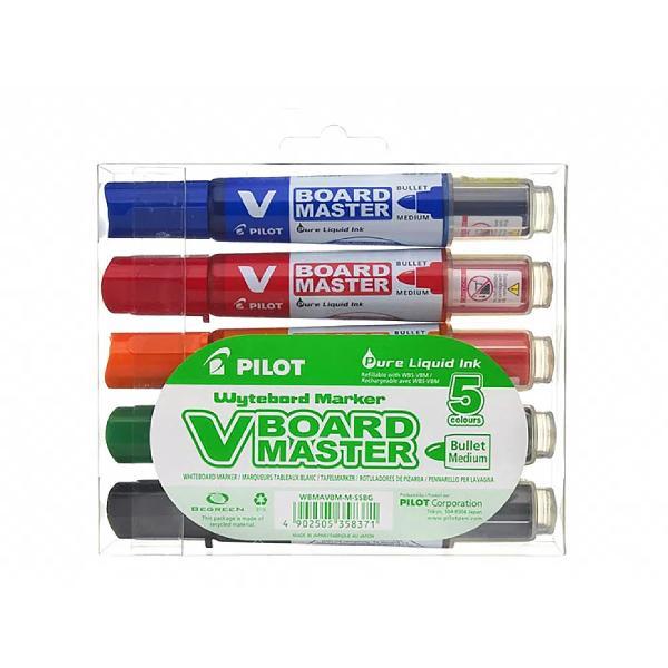 Marker pentru tabl&259; Pilot Vboard Master vârf rotund 23 mm 5 bucatisetO inova&539;ie tehnic&259;V-BOARD MASTEReste un marker de tabl&259; alb&259; cu cerneal&259;lichid&259; reînc&259;rcabilNoul sistem de irigare cu cerneal&259; permite scrierea instant&259; &537;i constant&259; f&259;r&259; agitareaîn prealabil sau ap&259;sarea pe vârful