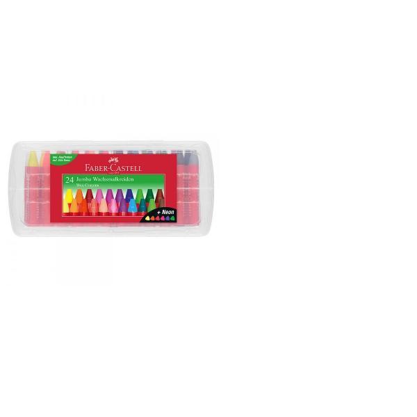 Creioane cerate mari diametru Jumbo in cutie practica reutilizabila din plastic Forma ergonomica triunghiularaCorpul protejat cu hartie