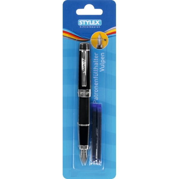 Stilou Toppoint cu penita M cu clip metalicDisponibil in 3 culori negru albastru rosu3 Patroane maxi de cerneala incluseAmbalaj blister de carton