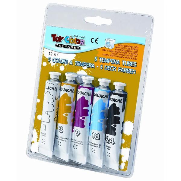 Tempera la tub Toy Color 12 ml 5 culoriTempera groas&259; &537;i mat&259; Cele 12 nuan&539;e pastel pot fi amestecate pentru o palet&259; de culori extins&259;Produsul este ideal pentru pictatul în timpul liber dar &537;i pentru folosirea la &537;coal&259;Se îndep&259;rteaz&259; cu u&537;urin&539;&259; de pe piele &537;i de pe cele mai multe tipuri de &539;es&259;turi doar cu ap&259; receNu con&355;in gluten &351;i