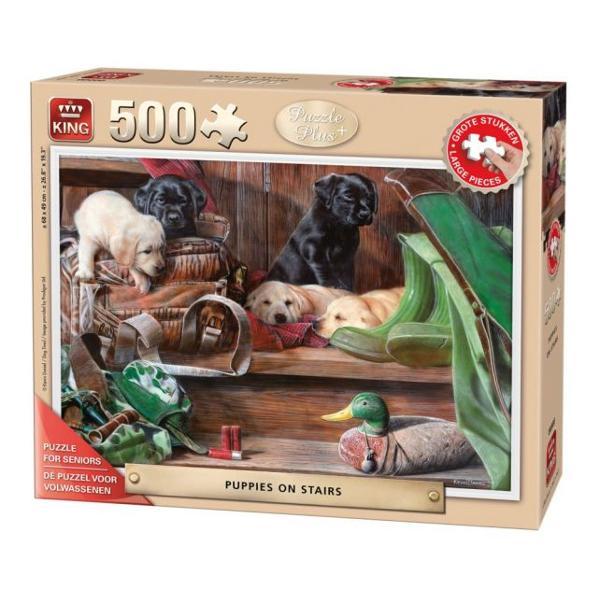 Puzzle 500 piese Puppies On The StairsPetrece-ti timpul liber intr-un mod constructiv Rezolvarea puzzle-urilor te ajuta sa iti dezvolti noi aptitudiniCaracteristiciDimensiune puzzle 68x49 cmDimensiune cutie 28x24x65 cmVarsta recomandata 10 aniAtentionare Produsul este contraindicat copiilor sub varsta de 3 ani deoarece poate contine piese mici care pot fi inghitite sau inhalate existand