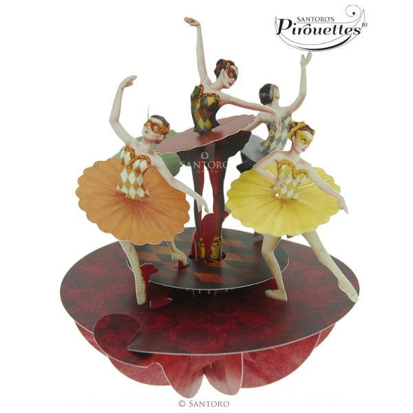 Felicitare 3D Pirouettes Santoro Ballet -Balerine&160;Felicitarea 3D Pirouettes Santoro-Balerine te asteapta sa descoperi gratia si eleganta miscarii intr-o perspectiva unica la 360&730; cu o inedita paleta cromatica in tonuri tomnatice Alege sa aduci la viata gingasia sentimentelor proprii cu ajutorul unei&160;felicitari 3D editie limitata care se deschide prin simpla rotire a manerului in jurul bazei felicitarii si adu mai multe&160; zambete in viata ta Urarile tale pot fi scrise pe