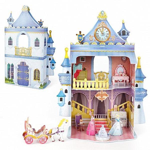 Puzzle-ulFairytale Castleeste un set ce are in componenta sa atat un castel de poveste in culori puternice si vesele cat si personaje din interiorul acestuia de la diferite printese si pana la o trasura trasa de cai ce le asteapta pe acestea in fata castelului Setul este customizabil intrucat cei mici pot alege cu care dintre printese sa se joace si pot alatura si alte seturi din seria Cubic FunSetulcontine81 de