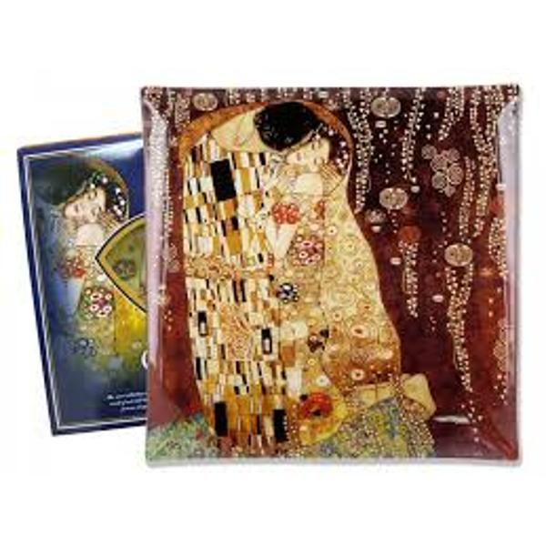 Platou confectionat din sticla decorat cu motive din pictura The Kiss Gustav KlimtDimensiune 25x25cmMarca Carmani