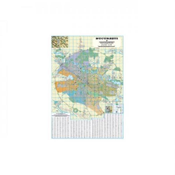 -Harta rutiera si administrativa Bucuresti 140x200 cm-Scara 1 17500-Pe sectoare