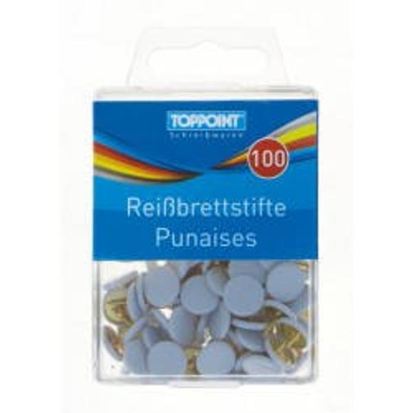 Pioneze albe din metal-100 buccutie Ambalaj cutie din plasticProdus de Toppoint-Germania