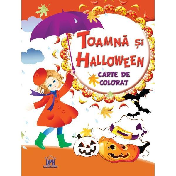 Carte de colorat - Toamna si Halloween