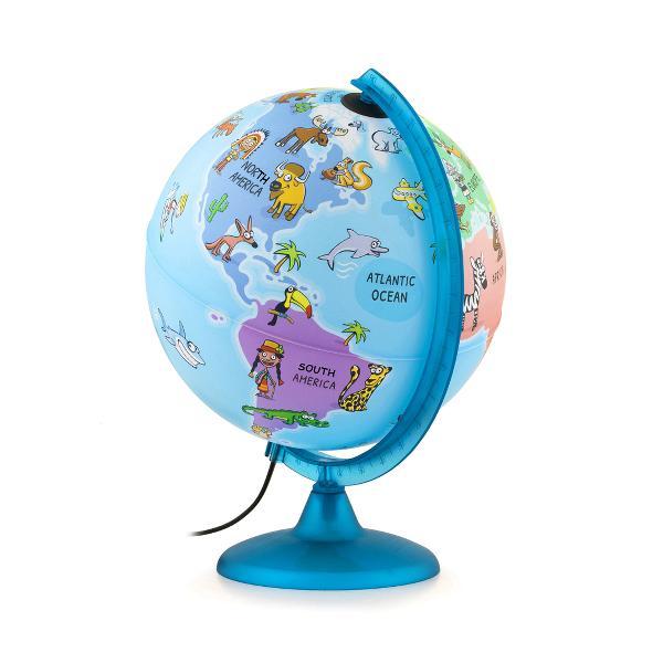 Glob ilustrat cu lumina in interior conceput pentru copii Produsul include un afis mare al hartii lumii alb-negru pentru a fi colorat si atarnat pe perete