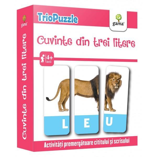 TRIOPUZZLE CUVINTE DIN TREI LITEREreprezint&259; o modalitate ingenioas&259; &537;i amuzant&259; de a îmbog&259;&539;i vocabularul copilului &537;i de a-l preg&259;ti pentru cititul cursiv &537;i pentru scrisPachetul con&539;ine• o mini-carte cu jocuri &537;i indica&539;ii pentru p&259;rin&539;i;• 60 de carduri care trebuie identificate &537;i grupate câte trei