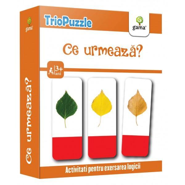 TRIOPUZZLE CE URMEAZ&258;reprezint&259; o modalitate ingenioas&259; &537;i amuzant&259; de dezvoltare a gândirii logice &537;i a perspicacit&259;&539;iiPachetul con&539;ine• o mini-carte cu jocuri &537;i indica&539;ii pentru p&259;rin&539;i;• 60 de carduri care trebuie identificate &537;i grupate câte trei pentru a recompune 20 de serii corecte