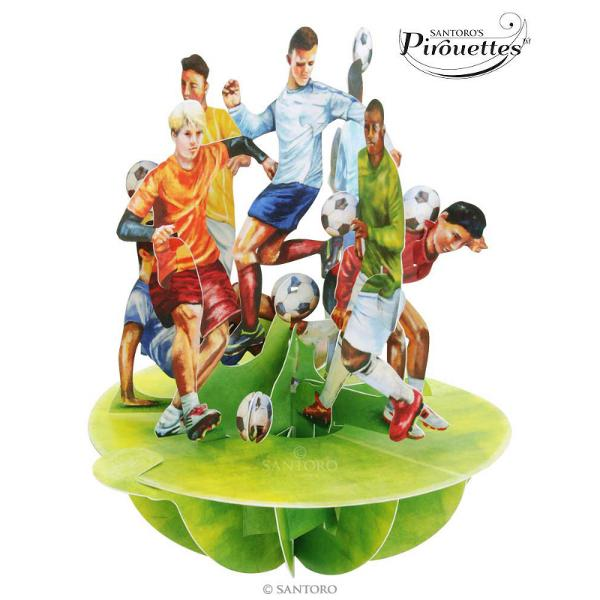 Felicitare 3D Pirouettes Santoro-FotbalFelicitarea3D Pirouettes Santoro-Fotbaleste darul perfect pentru iubitorii de fotbal Adevarata sculptura de hartie reuseste sa suprinda energia jucatorilor care isi paseaza mingea cu o incredibila redare a detaliilor in culori vibrante Acesta Felicitare 3D Pirouettes editie limitata se deschide prin simpla rotire a manerului in jurul bazei rotunde De asemenea
