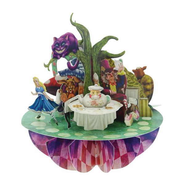 Felicitare 3D Pirouettes Santoro-Alice in Tara MinunilorO felicitare care iti va impresiona prietenii si familia prin bogatia detaliilor si culorile vii folosite Inspirata de celebrele carti felicitarea 3D Pirouettes Santoro-Alice in Tara Minunilor te surprinde prin deschiderea cu simpla rotire a manerului in jurul bazei si-ti ofera o perspectiva de basm la 360&730; Mesajul tau poate fi scris pe spatele