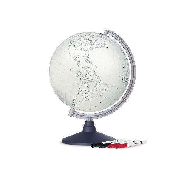 Glob educativ blank cu margini si forme a continentelor Puteti scrie si sterge pe el ca pe o tabla alba Vine dotat cu pixuri colorate