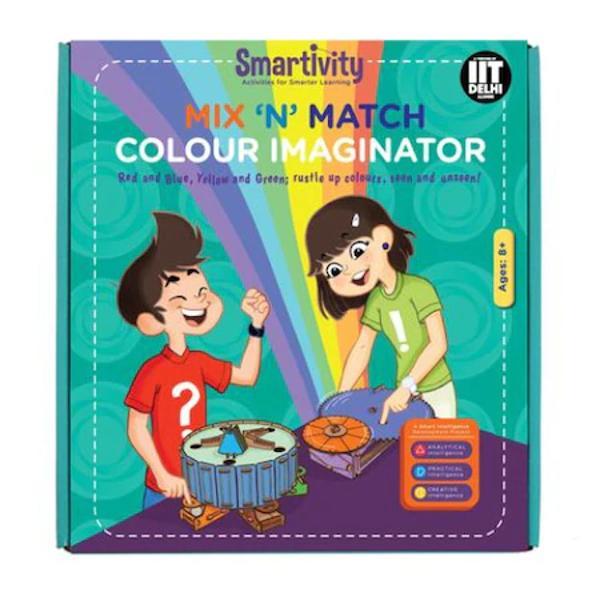 Culorile primare se amestecapentru a forma culori secundare in timp ce culorile tertiare sunt produse atunci cand sunt amestecate culorile primare cu o culoaresecundarasau doua culori secundareCu acest kit copiii invata despre culori si despre mecanismeprin construirea proiectului de doua parti Imaginatorul de culori este format din sectoare colorate si doua unitati mecanice Pneul de amestecare a culorilor atunci cand se roteste cu sectoare colorate