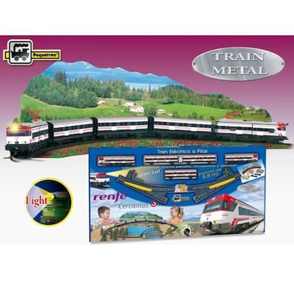 1 locomotiva motor3 vagoane1 locomotiva de spate fara motor16 linii curbe6 linii drepte1 macaz stanga1 macaz dreapta1 semafor1 diorama peisajAccesorii statie tunel podLungime traseu 58 mBaterii 2 x LR-14 nu sunt incluseDimensiuni traseu dupa instalare 200 x 100 cmFabricat in Spaniabr