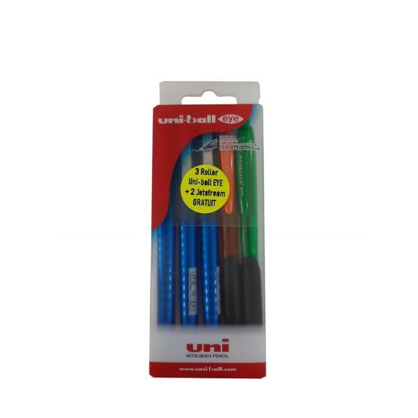 Set promo 32GRATIS 3 roller 07mm Uni-ball Eye Designer UB-157D albastru2 Jetsreamorangepasta albastra; verdepasta albastra