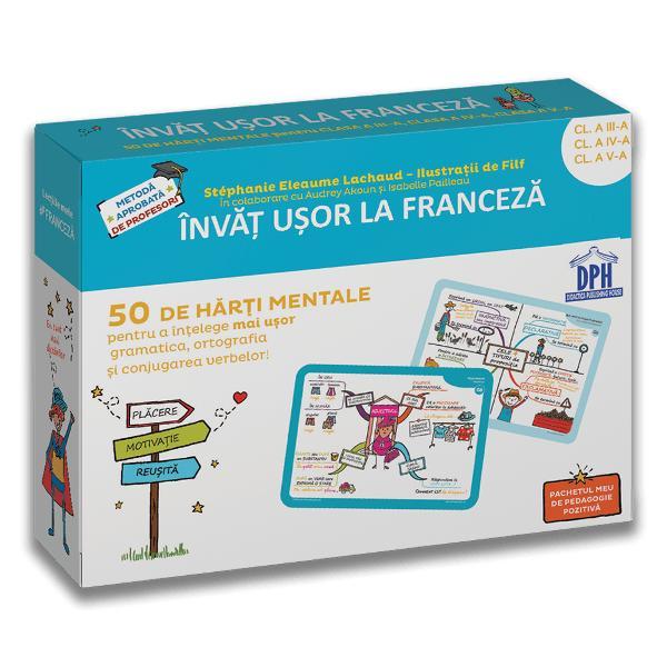 Un pachet care ajut&259; copilul s&259; înve&539;e mai u&537;or gramatica ortografia &537;i conjugarea limbii franceze Se adreseaz&259; copiilor cu vârsta cuprins&259; între 8-12 ani H&259;r&539;ile mentale ilustreaz&259; în mod clar structura fiec&259;rei lec&539;ii Datorit&259; culorilor &537;i desenelor copilul re&539;ine mai u&537;or progreseaz&259; &537;i câ&537;tig&259; încredere în sine
