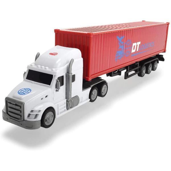 Camion cu containerlunga DT Logistics 3747001 DickieO jucarie fabricata integral din plastic rezistent  coloratCaracteristici- roti cu rulare libera- usa din spatele remorcii se deschide- remorca este detasabila- capul camionului dotat cu geamuri fumurii faruri oglinzi retrovizorii- scara 143Varsta recomandata  de la 3 aniPretul afisat este per bucata Nu se poate alege modelul se livreaza modelul