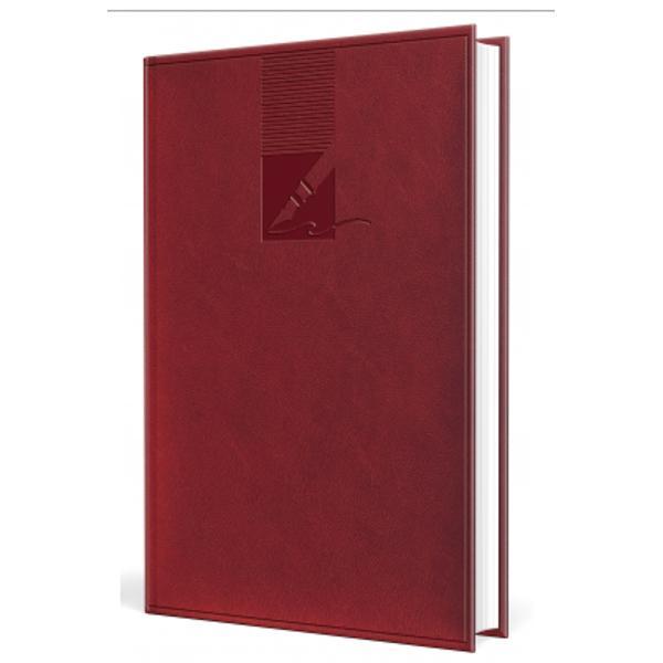Agenda de fata are 224 pagini hartie offset 60grmp coperta buretata personalizabila dimensiune 148mmx209mm nedatata culoare bordo