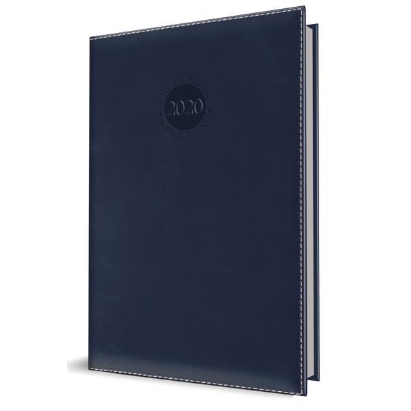 Agenda datata RO A5 model Premium DeLuxe Amsterdam 352 pagini coperta din piele sintetica culoare albastru inchis margini argintii 2021