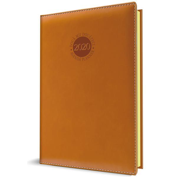 Agenda datata RO A5 model Premium DeLuxe Amsterdam 352 pagini coperta din piele sintetica culoare maro margini aurite 2021