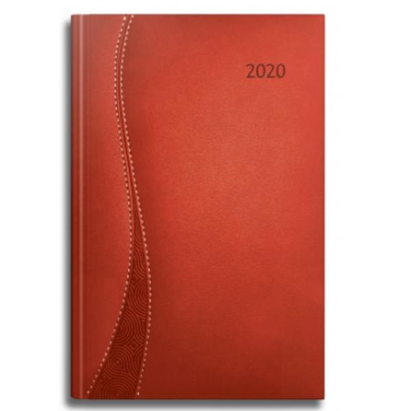 Agenda datata RO A5 model Delta 352 pagini coperta din piele sintetica culoare rosu margini aurii 2021
