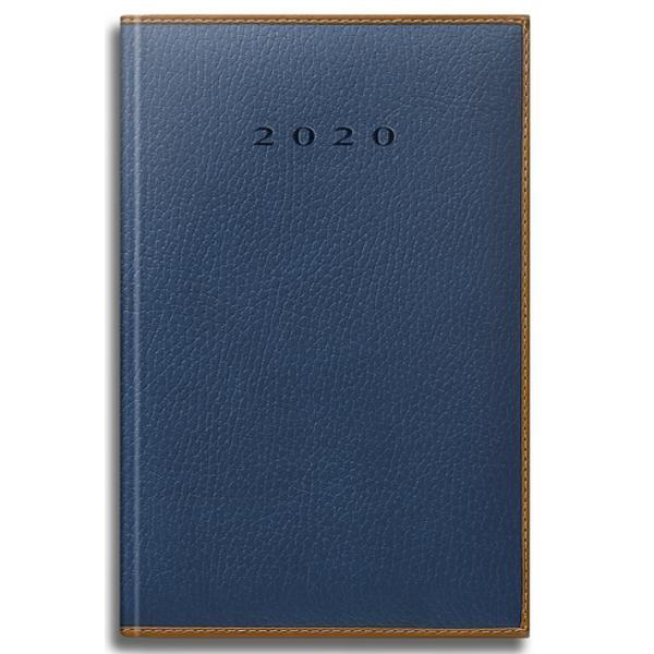 Agenda datata RO A5 model Premium DeLuxe Vienna 352 pagini coperta din piele sintetica oare albastru închis margini maro 2021