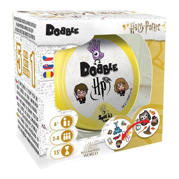 Editia licentiataHarry Pottera joculuiDobbleeste un joc 5 in 1 care te provoaca sa fii primul care gaseste un simbol comun intre doua cartonase diferite In functie de regulile fiecarei versiuni de joc scopul jucatorilor este unul simplu fie de a aduna cat mai multe cartonase fie a scapa de eleJoculDobble Harry Pottercontine 55 de cartonase personalizate si instructiuni de jocbr