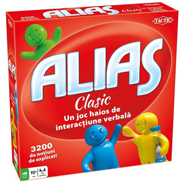 JOC DE SOCIETATE TACTIC ALIAS CLASIC 10 ANI 4 - 10 JUCATORIAlias Clasiceste un joc amuzant si alert ce se joaca in echipe de cel putin doi jucatori 3200 de no&427;iuni de explicat ce va vor ajuta sa va imboga&427;iti vocabularul in cel mai haios mod posibilScopul jocului este sa dati indiciile potrivite coechipierilor astfel incat acestia sa ghiceasca corect notiunea pe care o explicati Fiecare notiune ghicita corect este un pas inainte iar
