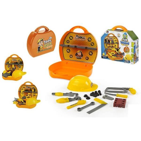 Jucarie copii trusa cu sculeTrusa de scule intr-o gentuta foarte utila pentru strangerea si depozitarea usoara a uneltelor de jucarieDimensiune aprox 306x100x275