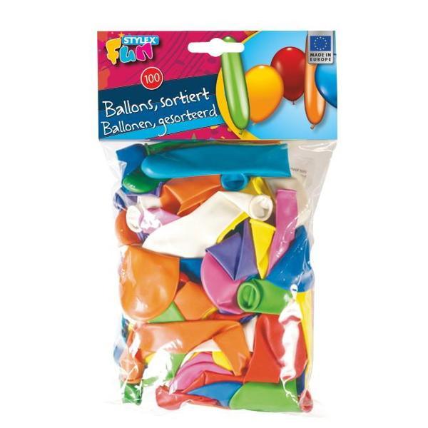 Set 100 baloane culori diverse si forme diverse