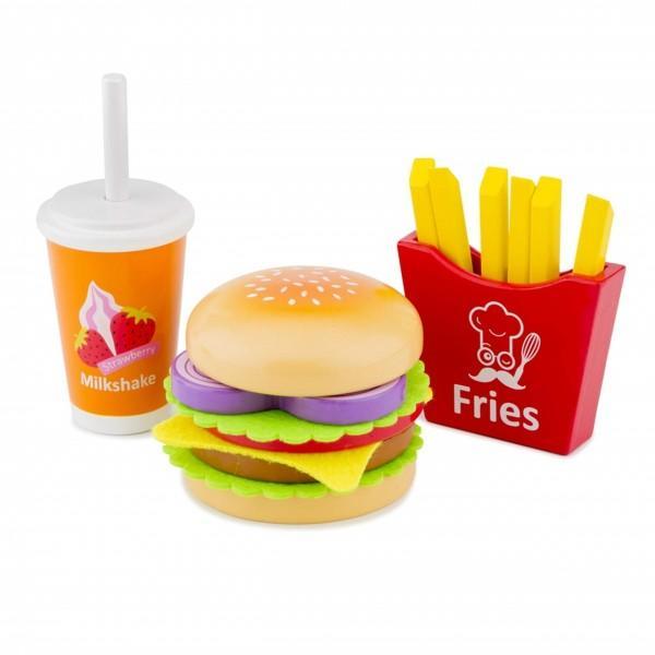 Setul contine un hamburger 2 chifle o chiftea o felie de branza o bucata de ceapa 2 frunze de salata 1 felie de rosie cartofi prajiti si un milkshake cu paiMaterial LemnVarsta recomandata 3 ani