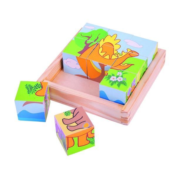 Puzzle-ul cubiceste alegerea perfecta pentru copilul tau de a se bucura de un joc minunat si interactiv Coordonarea si dexteritatea vor fi imbunatatite iar spiritul timpurilor indepartate va fi intretinut Fiecare imagine care va rezulta reprezinta cate un dinozaur interesant Insa fiecare cub are imprimat pe fetele sale cate o imagine partiala diferita a unuia dintre dinozauri Tehnica utilizata va fi rotirea cuburilor pana se vor cunoaste toate imaginile