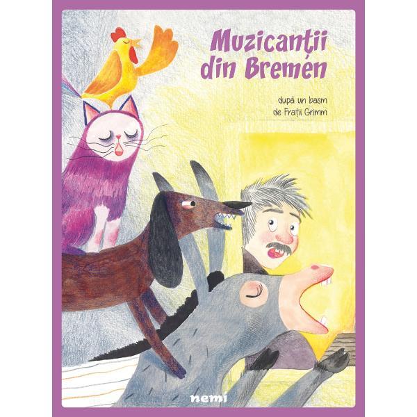 Adaptare de Veronica D Niculescu; Ilustratii de Adriana Oprita-GheorgheUn magar un caine o pisica si un cocos se trezesc alungati de stapani si trebuie sa-si gaseasca o noua casa asa ca pornesc impreuna spre Bremen sa se faca muzicantiCa orice calatorie si drumul lor le rezerva surprize si cei patru muzicanti afla ca