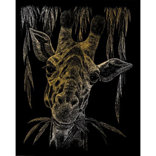 Set gravura pe folie aurie Girafate invita sa petreci cateva ore in compania celei mai vechi forme de exprimare artistica de cand exista omul pe pamant Placa neagra predesenata in tonuri fine de gri inchis te va ghida in noua ta calatorie poate chiar initiatica Nu stii niciodata ce pasiuni va trezi in interiorul tauAcestset gravura pe folie aurie Girafate va scoate din