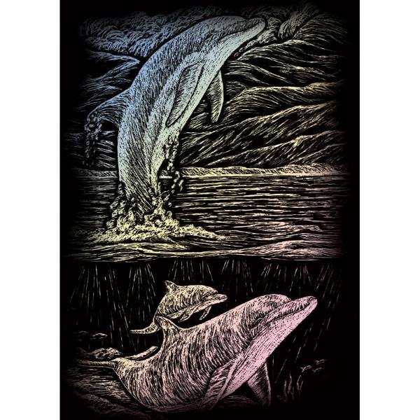 Set gravura pe folie holografica Delfinul jucauste invita sa petreci cateva ore in compania celei mai vechi forme de exprimare artistica de cand exista omul pe pamant Placa neagra predesenata in tonuri fine de gri inchis te va ghida in noua ta calatorie poate chiar initiatica Nu stii niciodata ce pasiuni va trezi in interiorul tauAcestSet gravura pe folie holografica Delfinul
