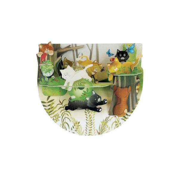 Cunosti iubitori de pisici si vrei sa le faci un cadou pe care il vor aprecia mult timp Alege felicitarea 3D PopnRock - Pisici in padure si vei avea ocazia sa ii fascinezi printr-o simpla felicitare Felicitarea este formata din 2 laturi care permit o miscare in balans la cea mai usoara atingere dand viata elementelor mobile Mesajul tau poate fi scris in spatiul special pentru text de pe spatele felicitariip stylefont-weight