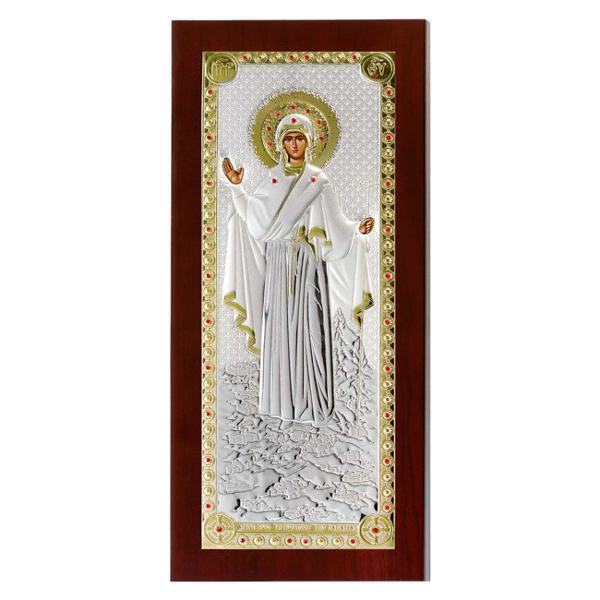 Maica Domnului de la Athos 23x11cm Icoana ArgintFabricata in GreciaAre aplicat Sigiliul Producatorului Certificatul de calitate si Marcajul cantitatii de argintInfatiseaza Maica Domnului de la Sfantul Munte Athos