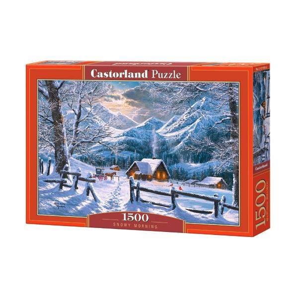 Pictura lui Abraham Hunter Snowy Morning într-un puzzle de 1500 de piesePoate fi o activitate comun&259; pentru to&539;i membrii familieiDimensiunile puzzle-ului Castorland rezolvat 68x47 cmAccesorii 1500 de piese de puzzle