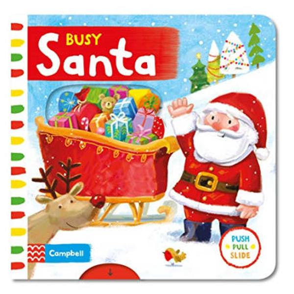 Santas got a busy day ahead InBusy Santachildren can push pull and turn the tabs to help him wrap up the presents load up the sleigh fly through the sky and deliver all the gifts on Christmas Eve Children will love playing with the easy-to-handle mechanisms in this bright and colourful board book with gently rhyming text and magical illustrations by Ag Jatkowska which is part of the Busy Book series