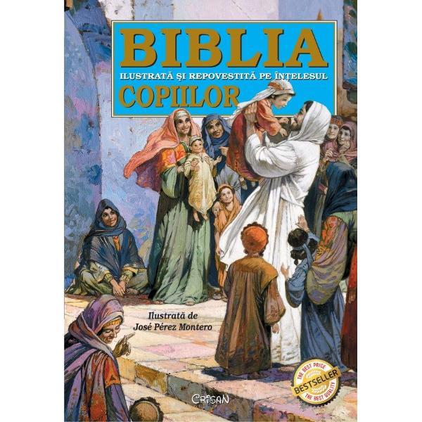 O carte care reune&351;te cele mai frumoase povestiri biblice dep&259;nate pentru cei mici pe în&355;elesul lor &351;i înso&355;ite de ilustra&355;ii fascinante &351;i l&259;muritoare Cele aproape 300 de istorisiri alese din Sfânta Scriptur&259; readuc la via&355;&259; personaje legendare care vor deslu&351;i pentru copii pildele tâlcurile &351;i semnifica&355;iile Marii C&259;r&355;i