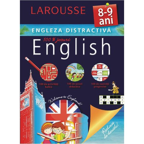 Cartea este conceputa de specialistii Larousse pentru copiii de 8-9 ani care studiaza limba englezaConþine activitaþi ludice jocuri didactice exerciþii progresive- Activitaþi adaptate si jocuri care te vor ajuta sa te antrenezi si sa progresezi- Toate cuvintele pe care ar trebui sa le cunosti- ªiretlicuri ca sa treci