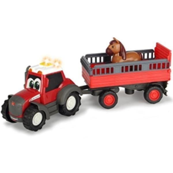 CaracteristiciTractor Happy Ferguson cu remorca este un set agricol din plastic cu o lungime de 31 cm perfect pentru copiii mai miciCu siguranta va incanta toti iubitorii de masini agricolePrevazut cu sunete si luminiAre elemente mobile si remorca detasabilaInclude o figurina calFunctioneaza cu 2 baterii LR44 de 15V incluseLungime tractor cu
