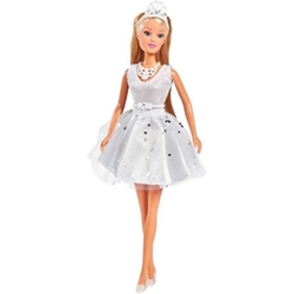 CaracteristiciPapusa Steffi este o adevarata papusa de modaSteffi este imbracata intr-o rochie evazata care straluceste frumosSetul contine contine o papusa o tiara un colier si o centuraInaltime papusa29 cmVarsta recomandata3 ani